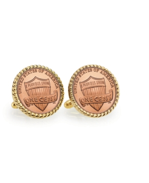 Lincoln Union Shield Penny Rope Bezel Coin Cuff Links