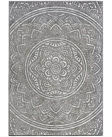 "Social Living by Jennifer Adams Mandala Silver 5'2"" x 7'6"" Area Rug"