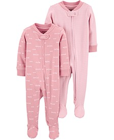 Baby Girls 2-Pc. Footed Cotton Coverall Set