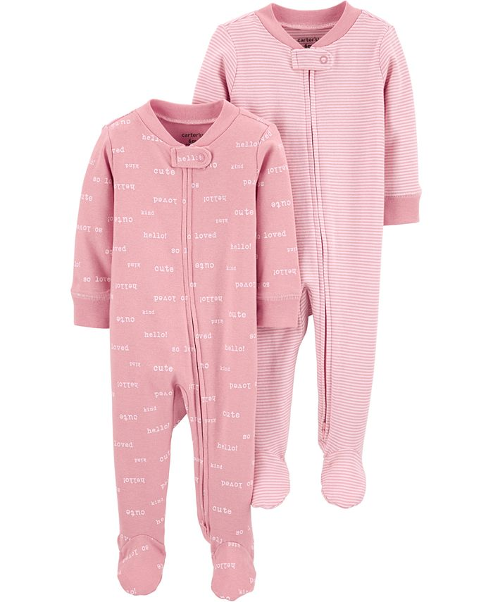 Carter's - Baby Girls 2-Pc. Footed Cotton Coverall Set