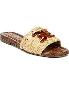 Backer Raffia Logo Slide Sandals