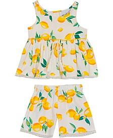 Baby Girls 2-Pc. Lemon-Print Woven Ruffle Top & Shorts Set