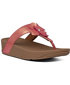 Lottie Corsage Suede Thong Sandals