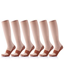 Men's and Women's Copper-Infused High-Energy Compression Socks - 6 Pair