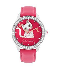 Women's Cat Dial Pink Polyurethane Strap Bracelet Watch 40mm