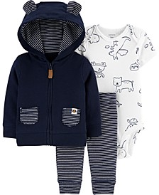 Baby Boys Printed Bodysuit, Bear Hoodie & Striped Pants Set