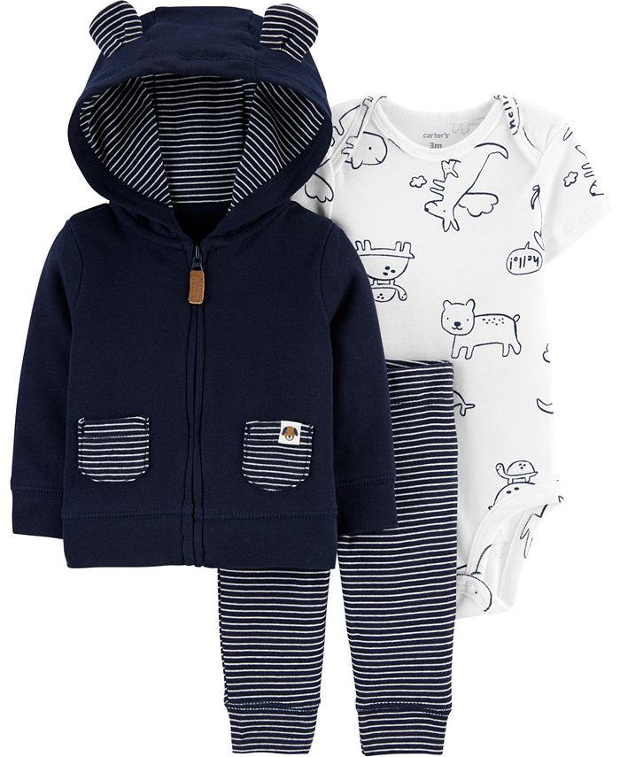Carter's - Baby Boys Printed Bodysuit, Bear Hoodie & Striped Pants Set