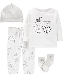Baby Boys or Girls 4-Pc. Milk & Cookies Cotton Take-Me-Home Set