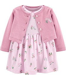 Baby Girls 2-Pc. Cotton Cardigan & Floral-Print Dress Set