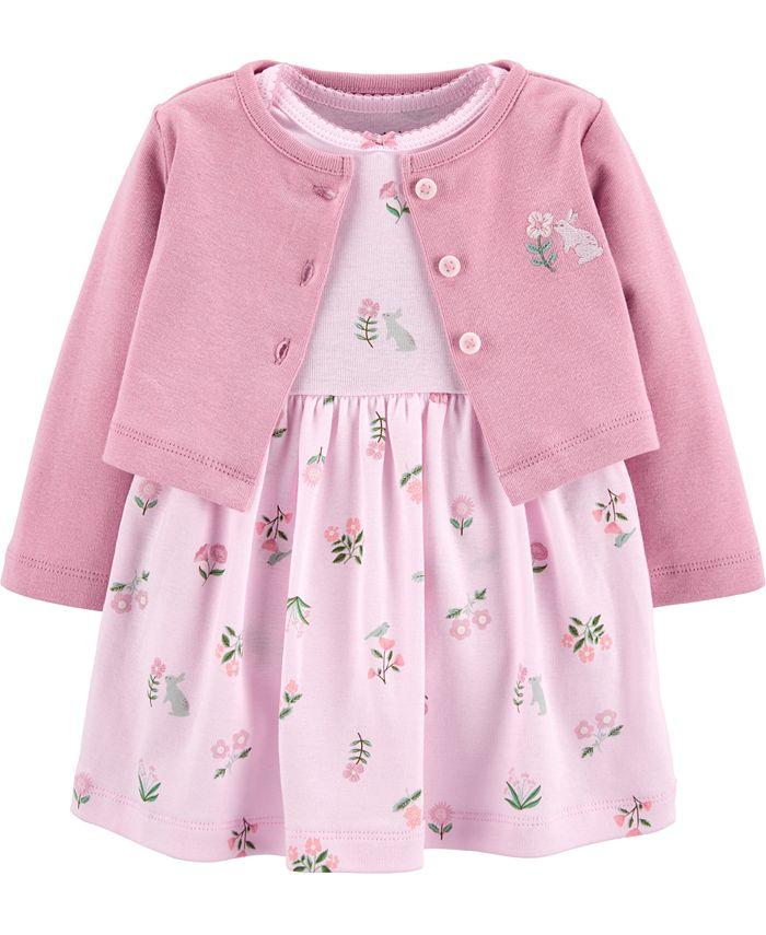 Carter's - Baby Girls 2-Pc. Cotton Cardigan & Floral-Print Dress Set