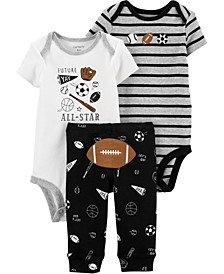 Baby Boys 3-Pc. Football Cotton Bodysuits & Pants Set