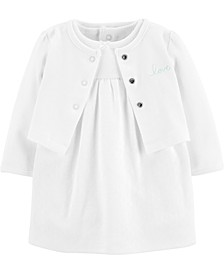 Baby Girls 2-Pc. Cotton Cardigan & Dress Set