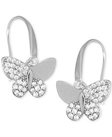 Cubic Zirconia Butterfly Drop Earring in Fine Silver Plate, Gold Plate or Rose Gold Plate