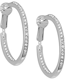 Cubic Zirconia Medium In & Out Clip-On Hoop Earrings in Fine Silver-Plate, 1.18""