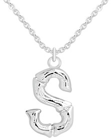 "Initial Bamboo-Look 18"" Pendant Necklace in Fine Silver-Plate"