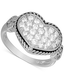 Cubic Zirconia Heart Cluster Statement Ring in Fine Silver-Plate