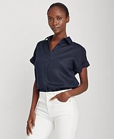 Dolman-Sleeve Linen Shirt