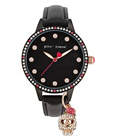 Women's Skull Charm Black Polyurethane Strap Watch 38mm