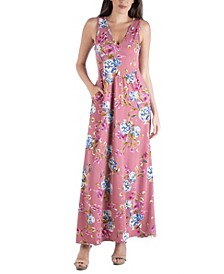 Floral Sleeveless Maxi Dress with Pocket Detail