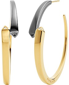 Two-Tone Sterling Silver Medium Cubic Zirconia Bypass Hoop Earrings, 1-1/2""