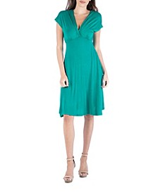 V-Neck Cap Sleeve Empire Waist A-Line Dress