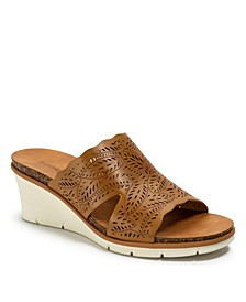 Barb Laser Cut Slip-on Wedge Sandals