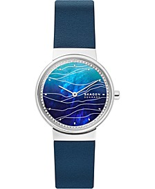 Women's Annelie Blue Leather Strap Watch 34mm