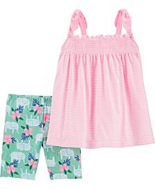 Big Girls 2-Pc. Striped Tank Top & Elephant Shorts Set