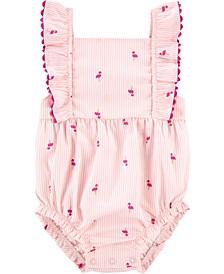 Baby Girls Flamingo Stripe Bubble Romper