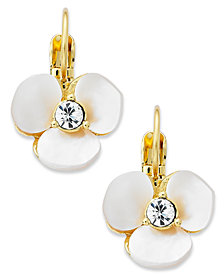 kate spade new york Earrings, Gold-Tone Cream Disco Pansy Flower Leverback Earrings