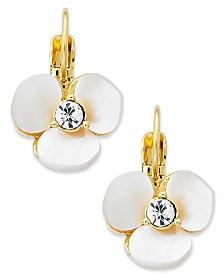 kate spade new york Earrings, Gold-Tone Cream Disco Pansy Flower Leverback Earrings