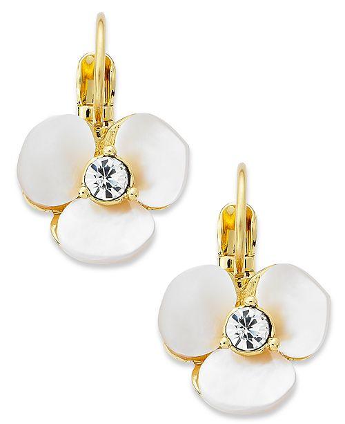 Earrings Gold Tone Cream Disco Flower Leverback