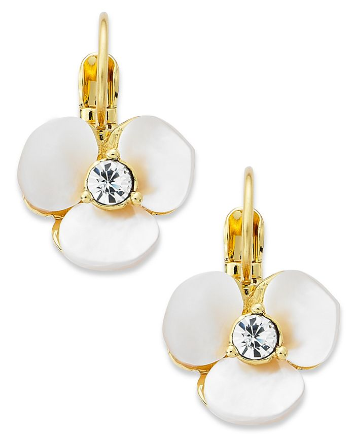 kate spade new york - Earrings, Gold-Tone Cream Disco Pansy Flower Leverback Earrings