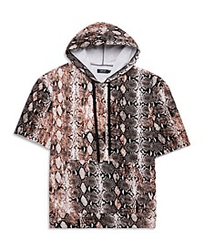 Men's Big Tall Python Print Short Sleeve Hoodie