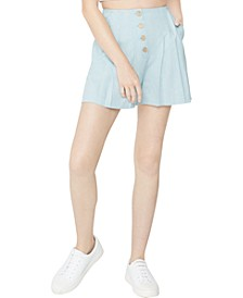 Button-Front Woven Shorts