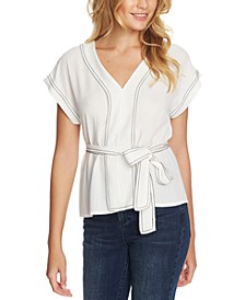 Trendy Plus Size Contrast-Stitch Top