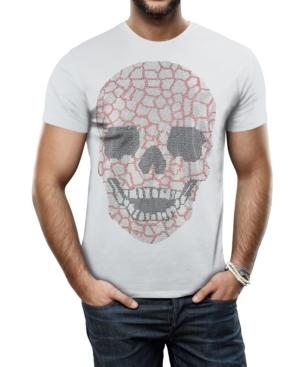 Men's Silver-Tone Skull Graphic Printed Rhinestone Studded T-Shirt