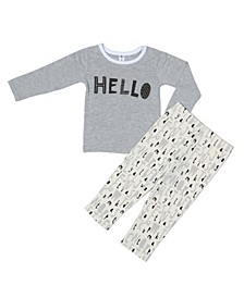 Toddler Boys and Girls Bamboo Long Sleeve 2 Piece Hello Pajamas Set