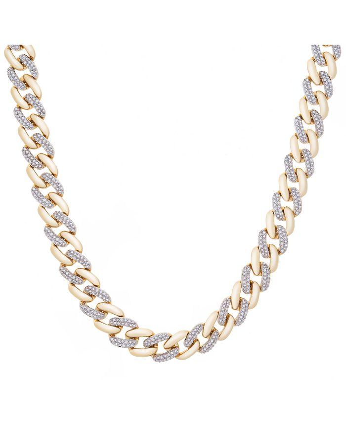 "Macy's - Men's Diamond Link 20"" Chain Necklace (1/2 ct. t.w.) in 10k Gold"