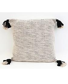 20x20 Bradford Two Tone Tassel Pillow in Black