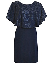 Metallic Chiffon-Cape Dress