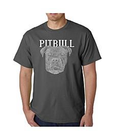 Men's Word Art - Pitbull Face T-Shirt
