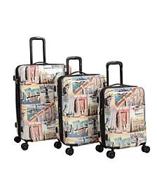 New York 3 Piece 8 Wheel Hardside Luggage Set