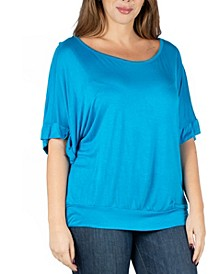 Women's Plus Size Short Sleeve Loose Fitting Dolman Top
