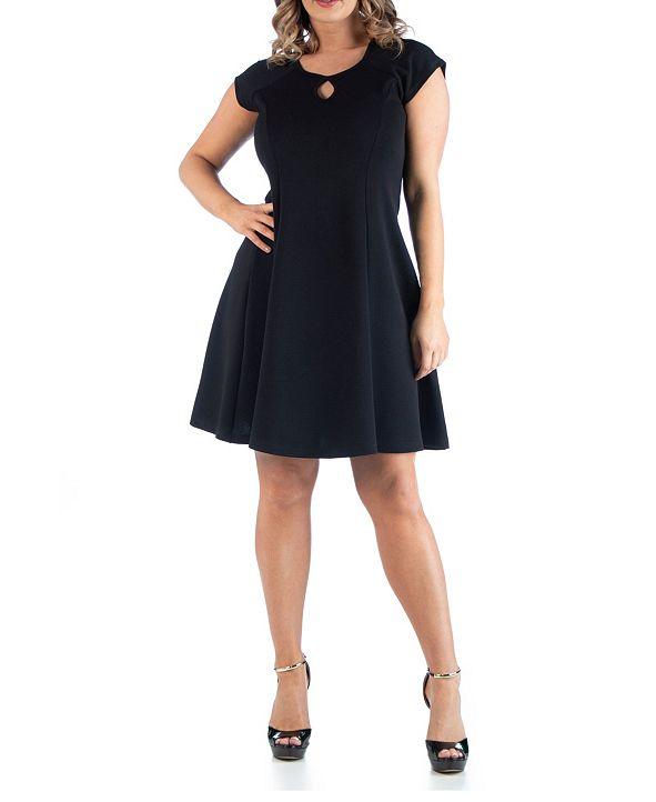 24seven Comfort Apparel Women's Plus Size Keyhole Neck Dress