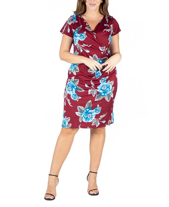24seven Comfort Apparel Women's Plus Size Short Sleeve V-neck Floral Faux Wrap Dress