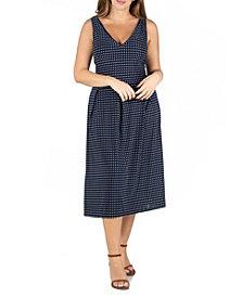 24seven Comfort Apparel Women's Plus Size Polka Dot Midi Fit and Flare Pocket Dress