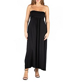Women's Plus Size Belted Empire Waist Maxi Dress