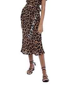 Women's Leopard Midi Slip Skirt