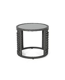 Tatiana Outdoor Modern Boho Side Table with Glass Top